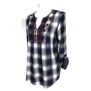 Abercrombie & Fitch Flannel Top Plaid Embroidered